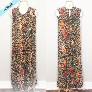 [Vintage] Leopard Floral Print Maxi Dress